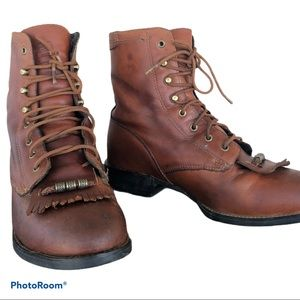 Vintage ARIAT leather lace up western roper boots